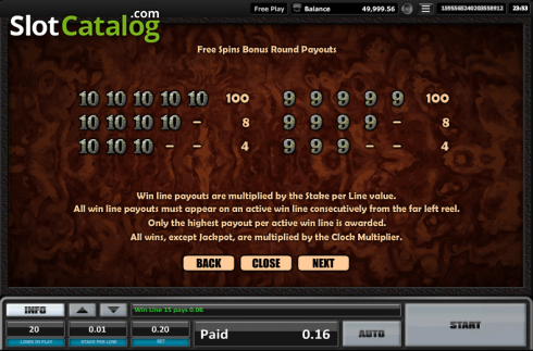 Paytable 15. Time is money (Video Slots from Realistic)