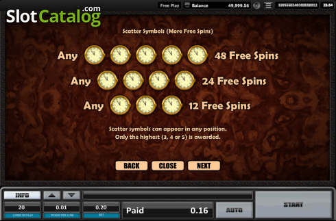 Paytable 17. Time is money (Video Slots from Realistic)
