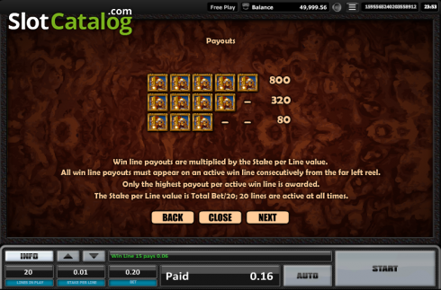 Paytable 3. Time is money (Video Slots from Realistic)