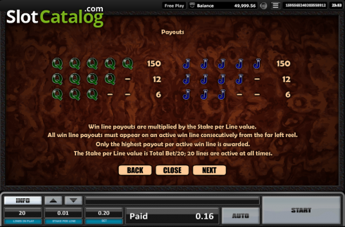 Paytable 5. Time is money (Video Slots from Realistic)