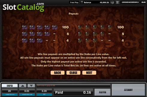 Paytable 6. Time is money (Video Slots from Realistic)