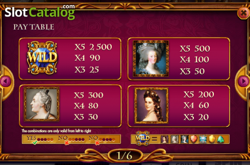 Paytable 1. Queens and Diamonds (Video Slot from Red Rake)