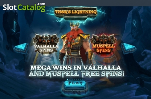 Start Screen. Thor's Lightning (Video Slot from Red Tiger)