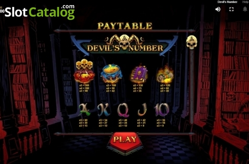 Paytable . Devil's Number (Video Slot from Red Tiger)