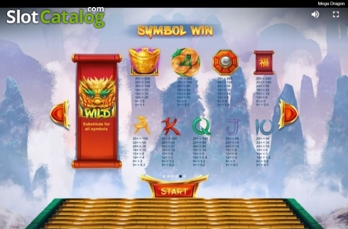 Paytable. Mega Dragon (Video Slot from Red Tiger)