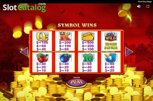 Paytable. Reel King Mega (Video Slots from Red Tiger)