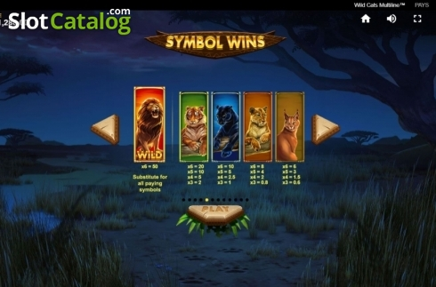 Paytable 1. Wild Cats Multiline (Video Slot from Red Tiger)
