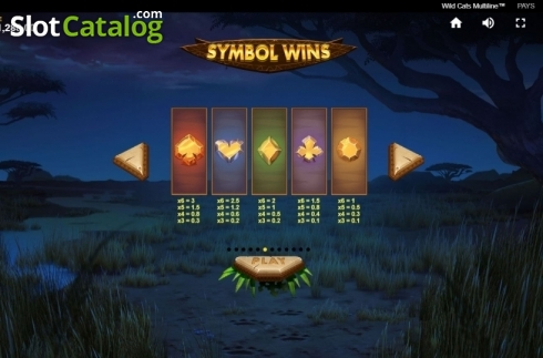 Paytable 2. Wild Cats Multiline (Video Slot from Red Tiger)