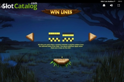 Paylines 1. Wild Cats Multiline (Video Slot from Red Tiger)