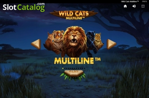 Start Screen. Wild Cats Multiline (Video Slot from Red Tiger)