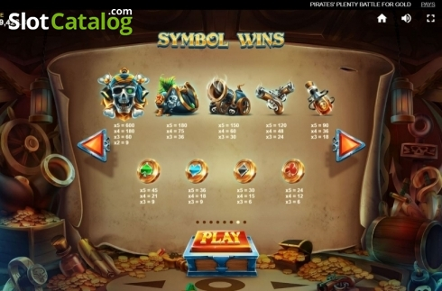 Paytable. Pirates Plenty Battle for Gold (Video Slots from Red Tiger)