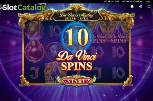 Skjerm10. Da Vinci's Mystery (Video Slot fra Red Tiger)