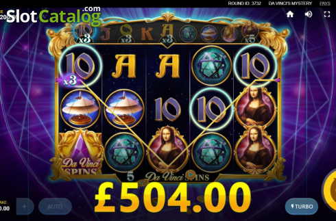 Skjerm13. Da Vinci's Mystery (Video Slot fra Red Tiger)