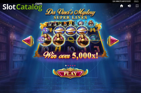 Skjerm3. Da Vinci's Mystery (Video Slot fra Red Tiger)