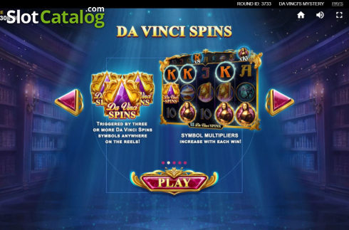 Skjerm4. Da Vinci's Mystery (Video Slot fra Red Tiger)