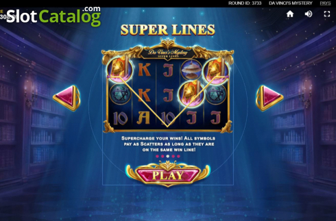 Skjerm5. Da Vinci's Mystery (Video Slot fra Red Tiger)