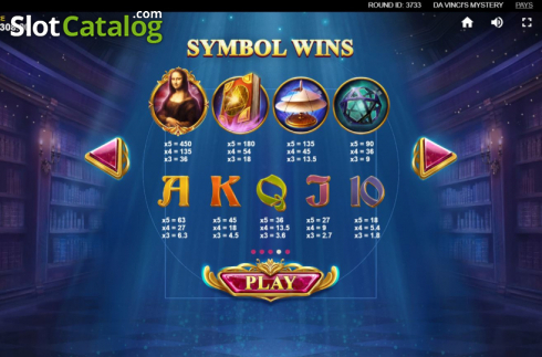 Skjerm6. Da Vinci's Mystery (Video Slot fra Red Tiger)