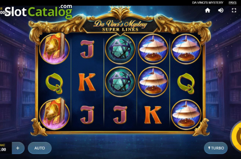 Skjerm8. Da Vinci's Mystery (Video Slot fra Red Tiger)