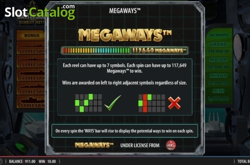 Megaways. Battleship Direct Hit (Video Slot from Red7)