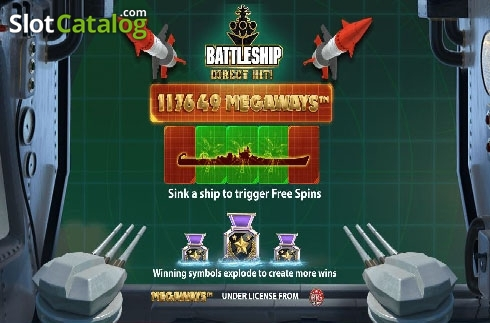 Intro screen. Battleship Direct Hit (Video Slot from Red7)
