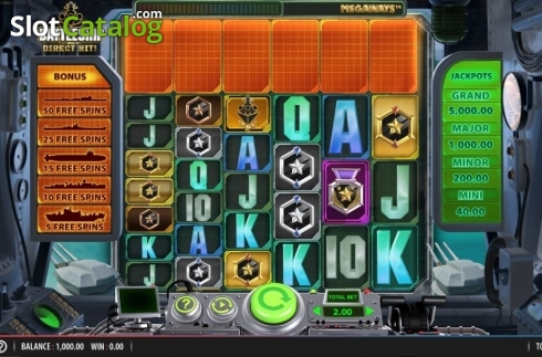 Reel Screen. Battleship Direct Hit (Video Slot from Red7)
