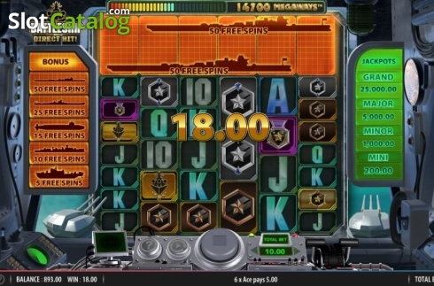 Win Screen. Battleship Direct Hit (Video Slot from Red7)