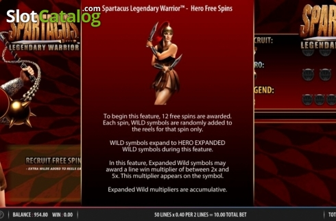 Feature 2. Spartacus Legendary Warrior (Video Slots from Red7)