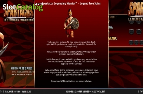 Feature 3. Spartacus Legendary Warrior (Video Slots from Red7)
