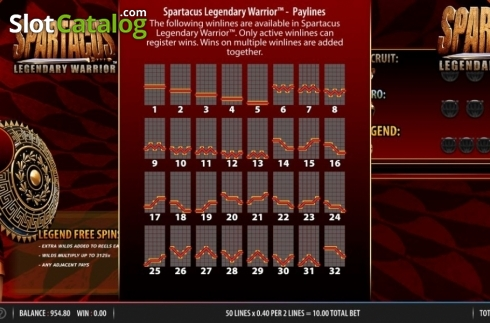 Lines 1. Spartacus Legendary Warrior (Video Slots from Red7)