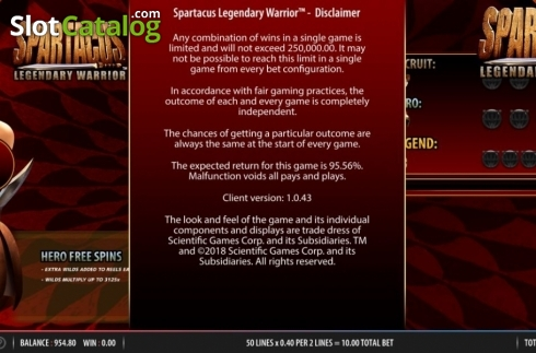 Rules. Spartacus Legendary Warrior (Video Slots from Red7)