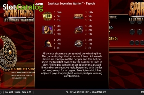 Paytable 1. Spartacus Legendary Warrior (Video Slots from Red7)