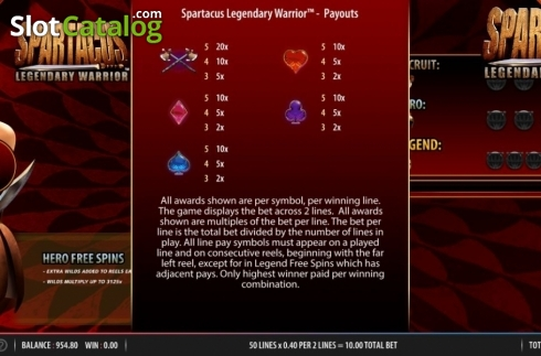 Paytable 2. Spartacus Legendary Warrior (Video Slots from Red7)