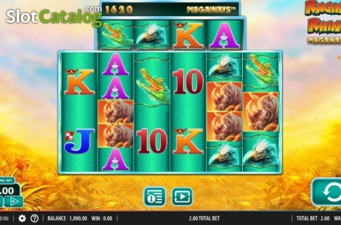 Reel Screen. Raging Rhino Megaways (Video Slot from Red7)