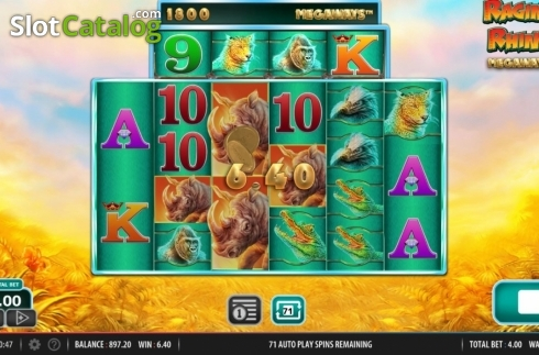 Win Screen 1. Raging Rhino Megaways (Video Slot from Red7)