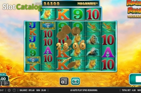 Win Screen 2. Raging Rhino Megaways (Video Slot from Red7)
