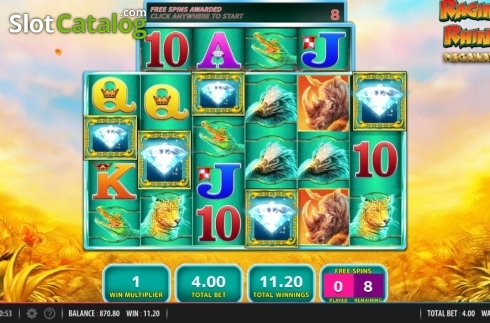 Free Spins 1. Raging Rhino Megaways (Video Slot from Red7)