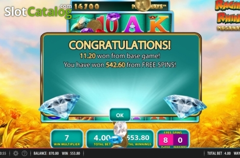 Total Win. Raging Rhino Megaways (Video Slot from Red7)