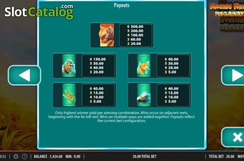 Paytable 1. Raging Rhino Megaways (Video Slot from Red7)