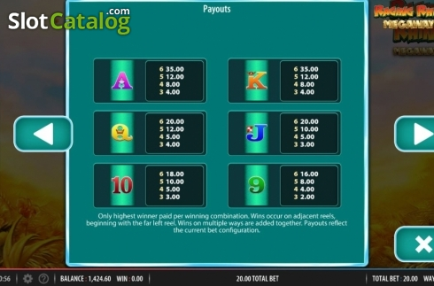 Paytable 2. Raging Rhino Megaways (Video Slot from Red7)