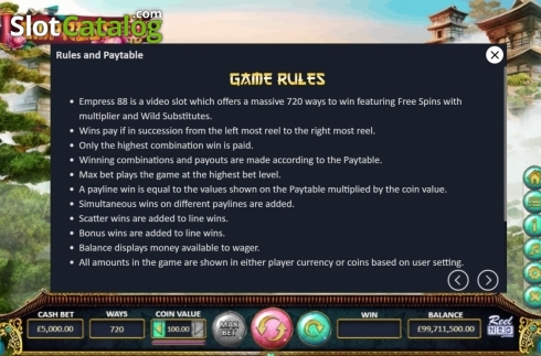 Game Rules. Empress88 (Video Slot from ReelNRG)