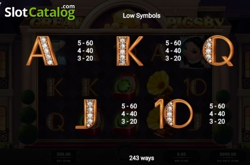 Paytable 2. The Great Pigsby (Video Slot from Relax Gaming)