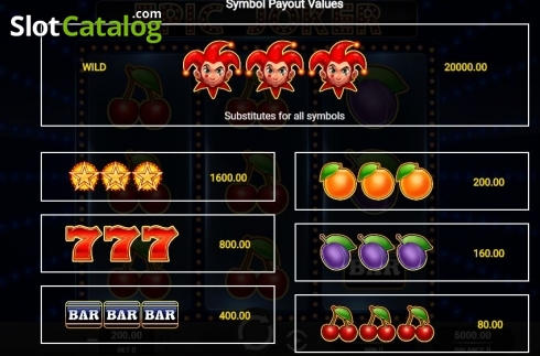 Paytable. Epic Joker (Video Slot from Relax Gaming)