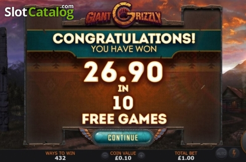 Total Win. Giant Grizzly (Video Slot from SUNFOX Games)
