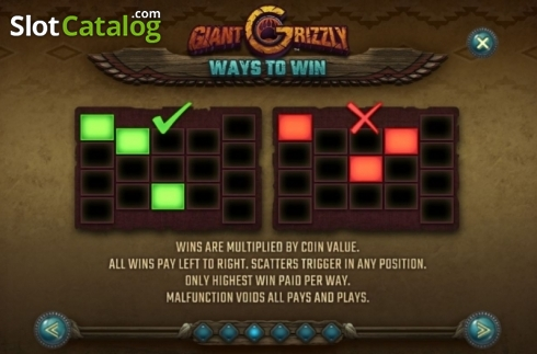 Paylines. Giant Grizzly (Video Slot from SUNFOX Games)