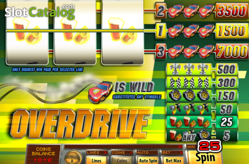 Win Screen. Overdrive (Video Slot from Saucify)