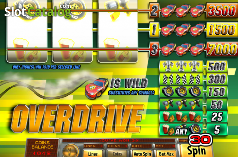 Win Screen2. Overdrive (Video Slot from Saucify)