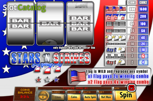 Win Screen2. Stars And Stripes (Classic Slot from Saucify)