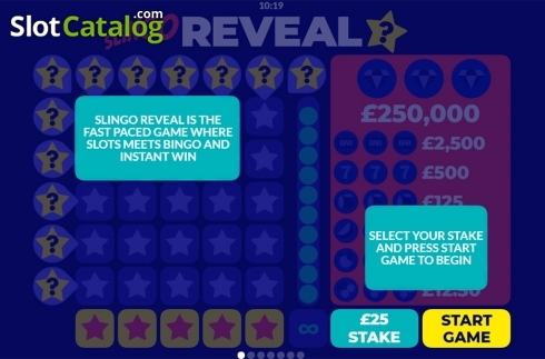 Paytable. Slingo Reveal (Others Types from Slingo Originals)