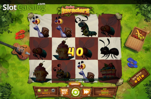 Win Screen 1. Spring Invaders (Video Slots from Spinmatic)