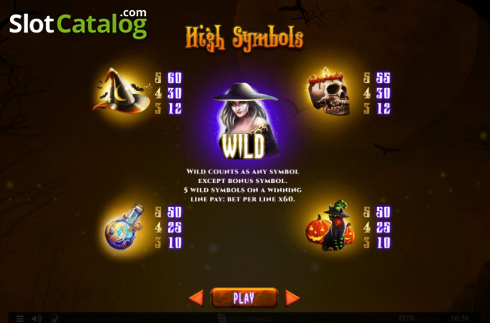 Paytable 1. Spinoween (Video Slot from Spinomenal)